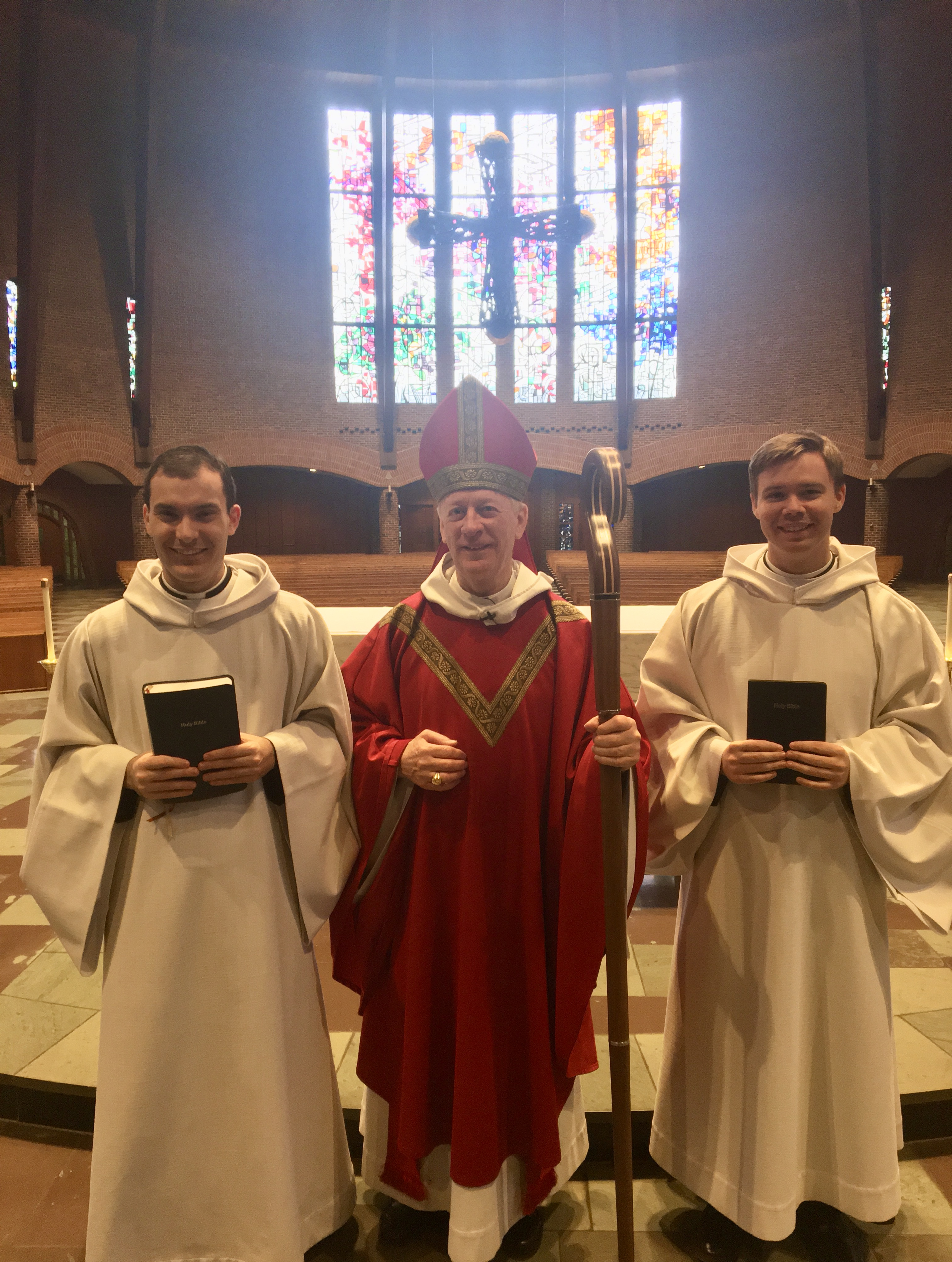 Brother Basil, Abbot Mark, and Brother Titus