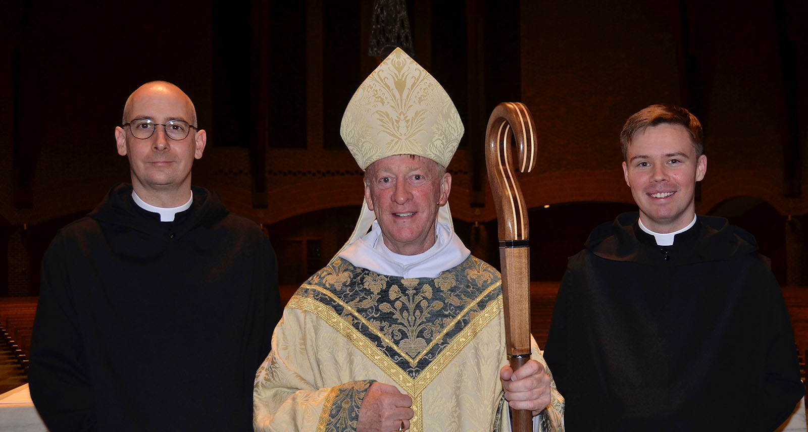 Brother Titus and Brother Dunstan with Abbot Mark