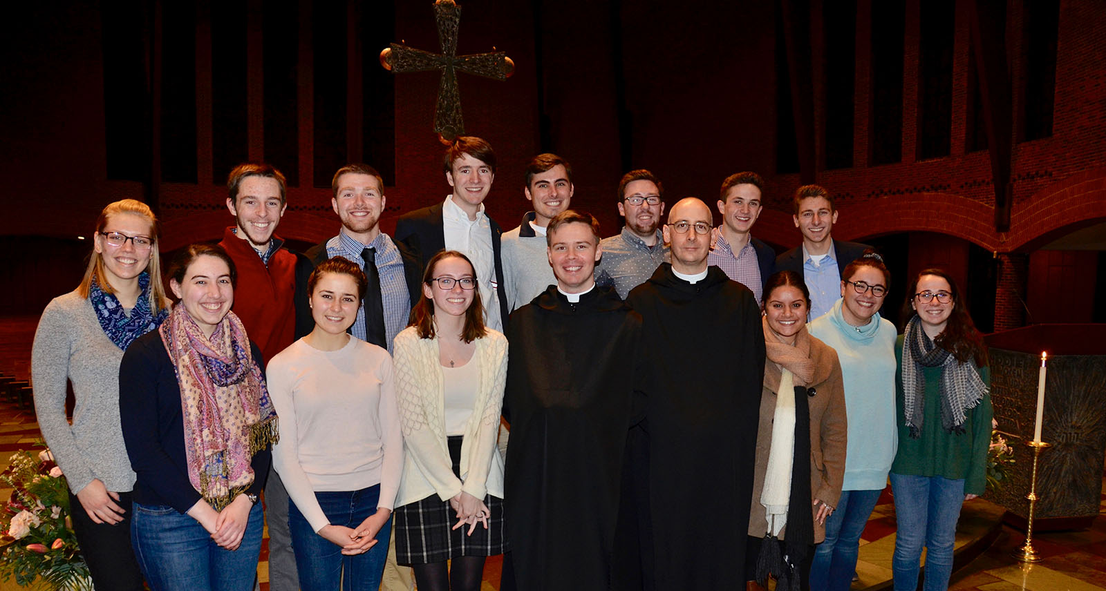 Brothers Titus and Dunstan with students from Saint Anselm College