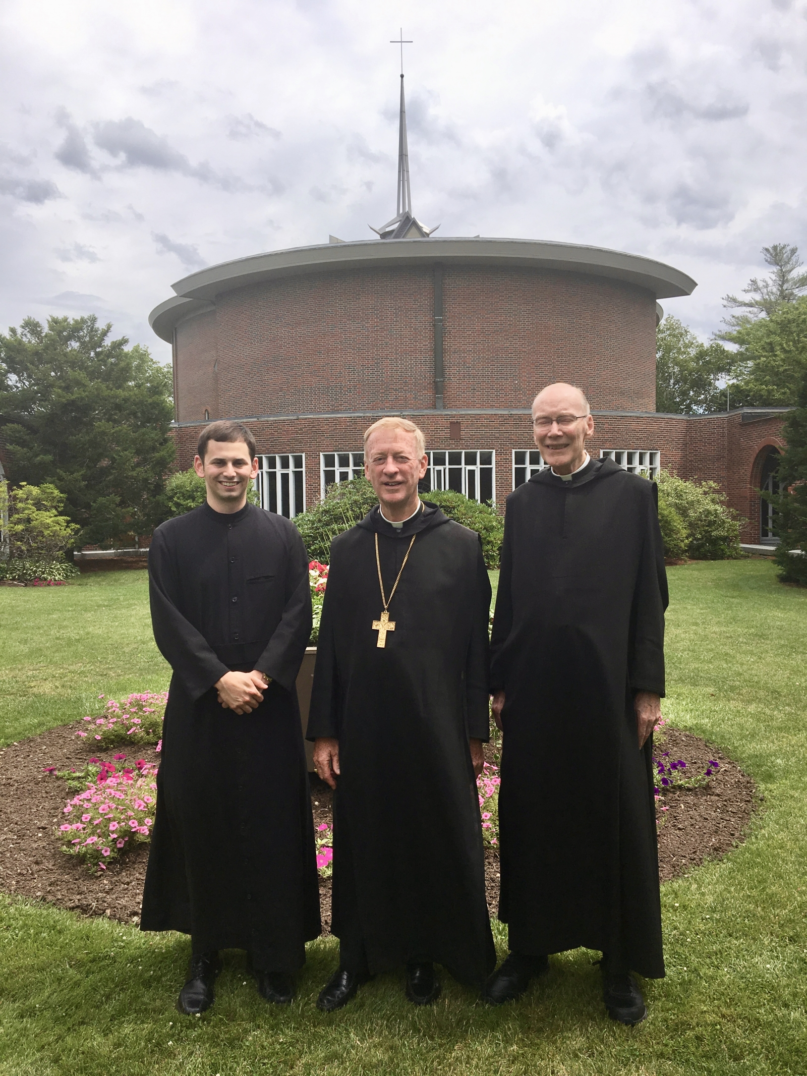 Brother Aloysius with Abbot Mark and Father Peter